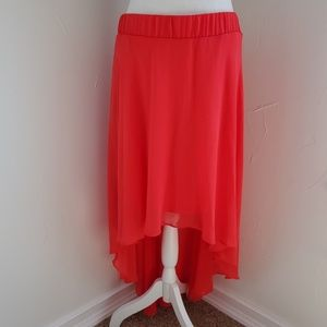 Bebe hi-lo tulle skirt, neon red, size M